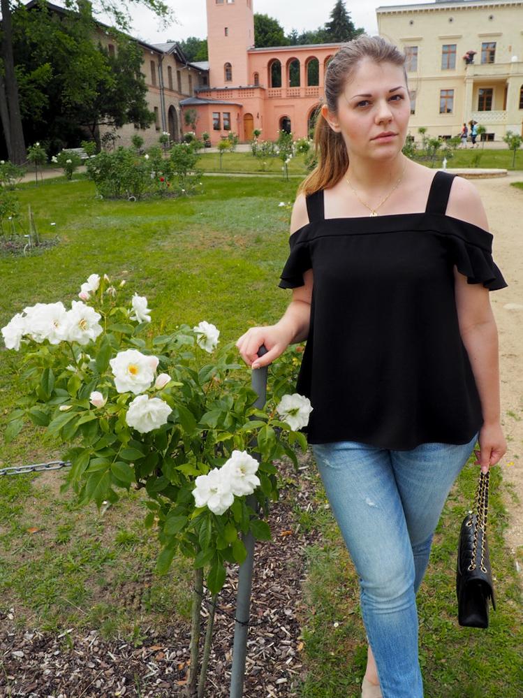 Rosenbusch und Mädchen